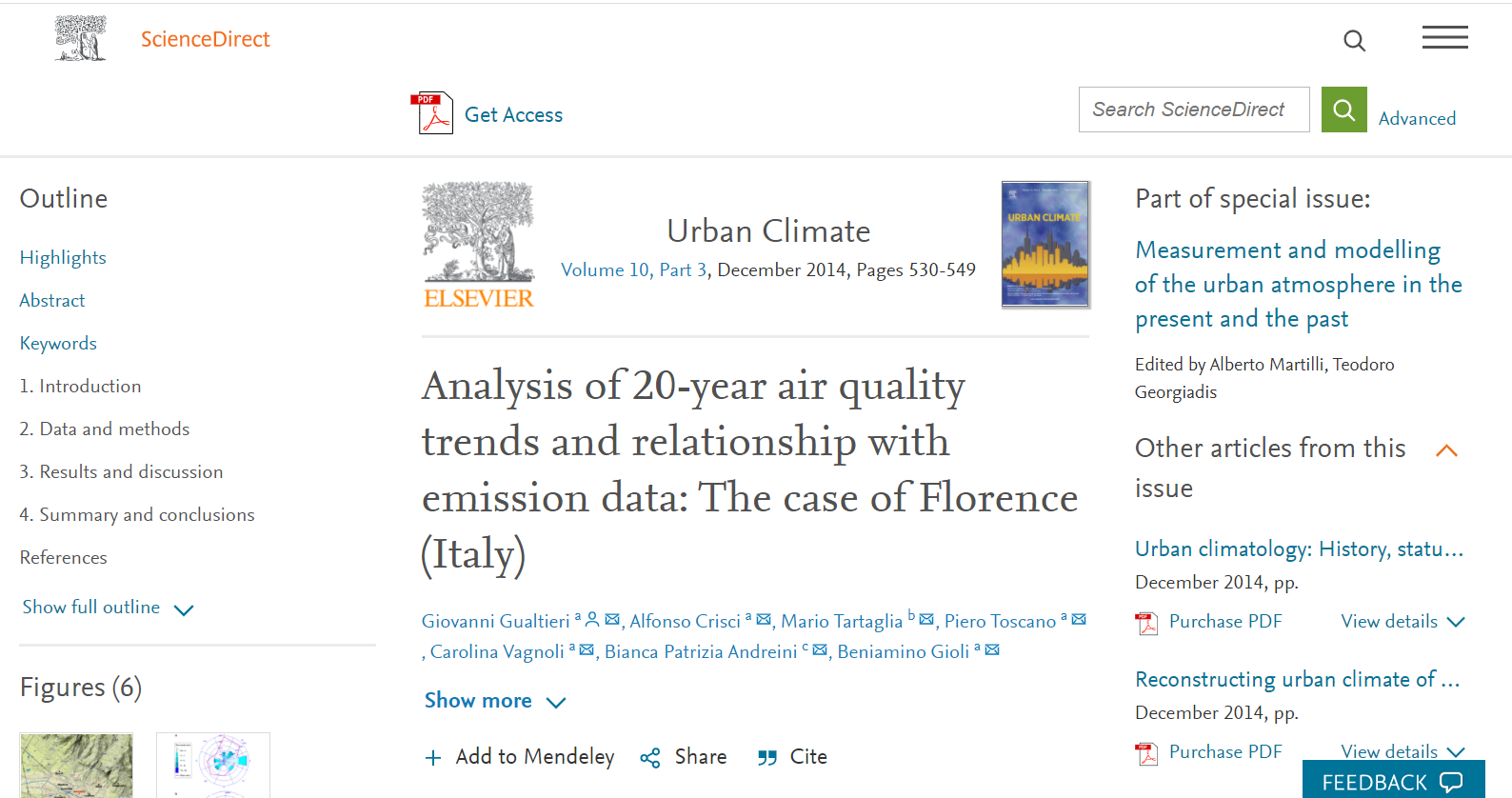 Analysis of 20-year air quality trends and relationship with emission data: The case of Florence (Italy).