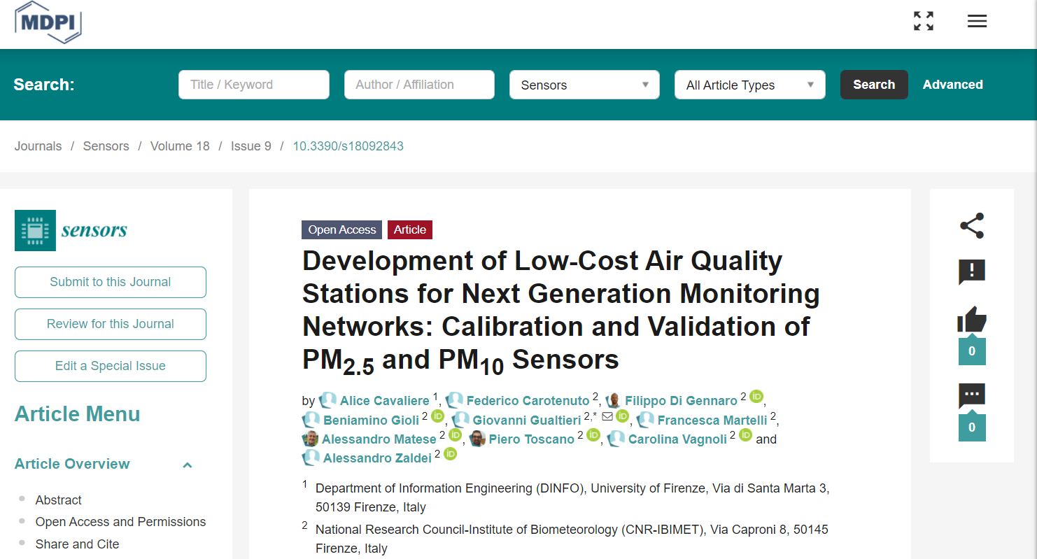 Development of Low-Cost Air Quality Stations for Next Generation Monitoring Networks: Calibration and Validation of PM2.5 and PM10 Sensors