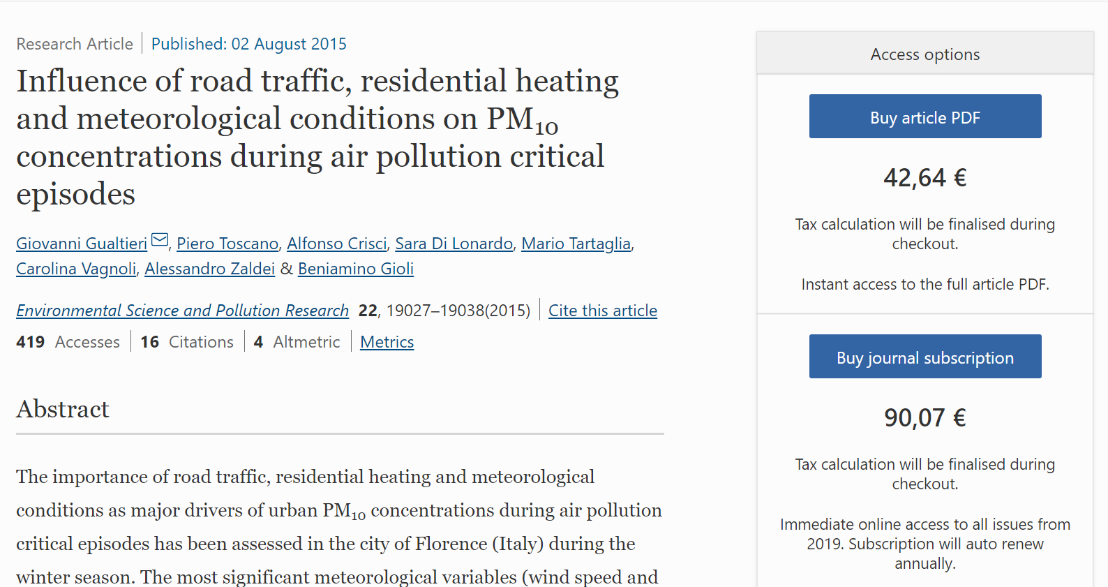 Influence of road traffic, residential heating and meteorological conditions on PM10 concentrations during air pollution critical episodes