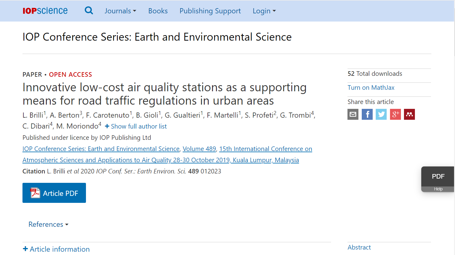 Innovative low-cost air quality stations as a supporting means for road traffic regulations in urban areas
