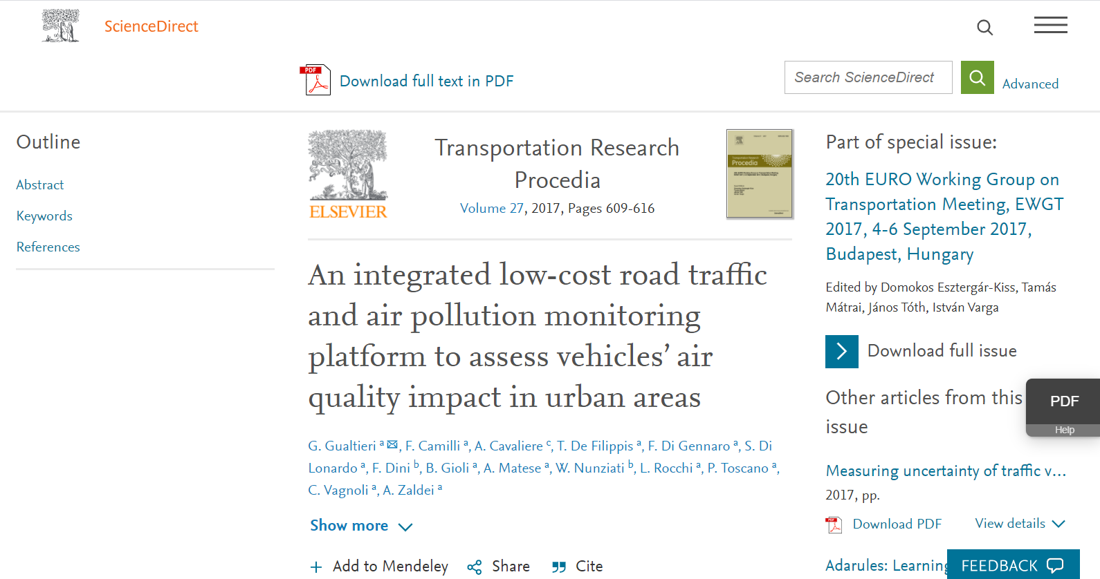 An integrated low-cost road traffic and air pollution monitoring platform to assess vehicles' air quality impact in urban areas
