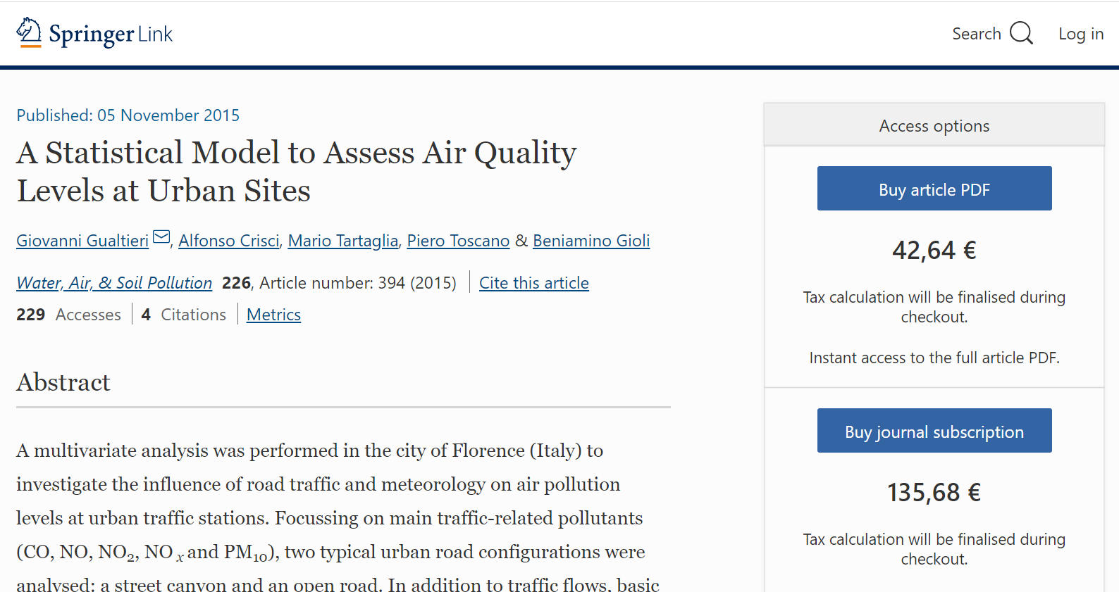 A Statistical Model to Assess Air Quality Levels at Urban Sites